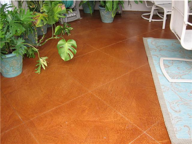 Acid stained patio w/ diamond scoring